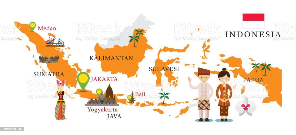 Indonesia Map and Landmarks with People in Traditional Clothing vector art illustration
