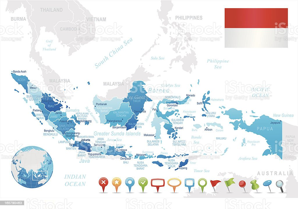 Indonesia Map Blue Regions Cities Navigation Icons Stock