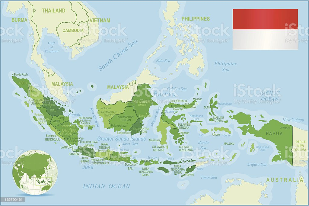 Indonesia map green highly detailed royalty-free stock vector art