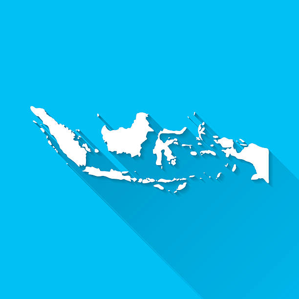 Indonesia Map on Blue Background, Long Shadow, Flat Design Map of Indonesia. indonesia stock illustrations