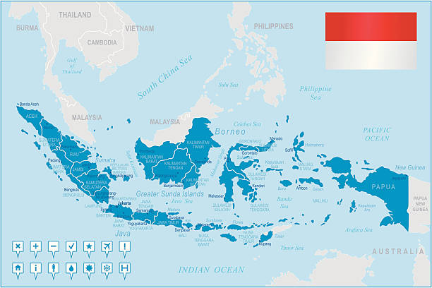Indonesia map - regions, cities and navigation icons http://s017.radikal.ru/i404/1110/87/2c00b7bbd3ec.jpg indonesia stock illustrations