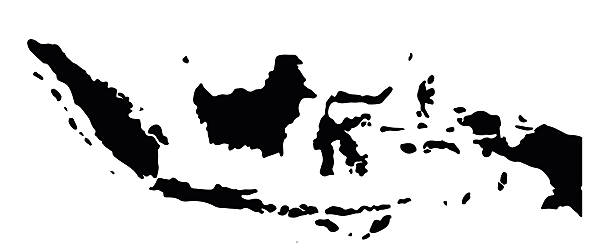 Indonesia map Indonesia silhouette map indonesia stock illustrations