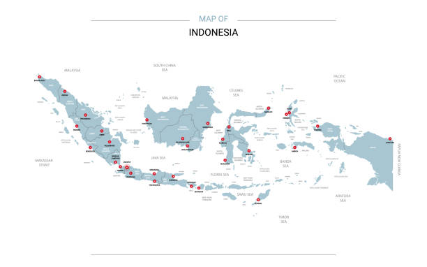 Indonesia map vector with red pin. Indonesia vector map. Editable template with regions, cities, red pins and blue surface on white background. indonesia stock illustrations