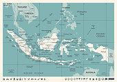 Indonesia Map - Vintage Vector Illustration