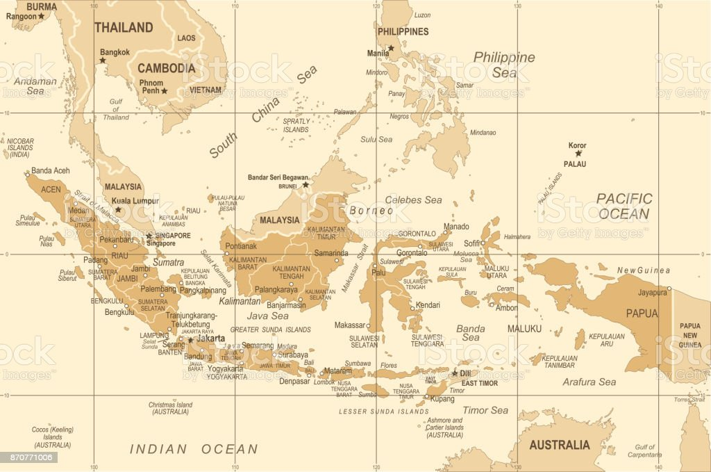 Map Of Asia Indonesia.Indonesia Map Vintage Vector Illustration Stock Vector Art More