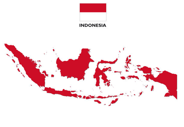 indonesia map with flag Red indonesia map with flag indonesia stock illustrations