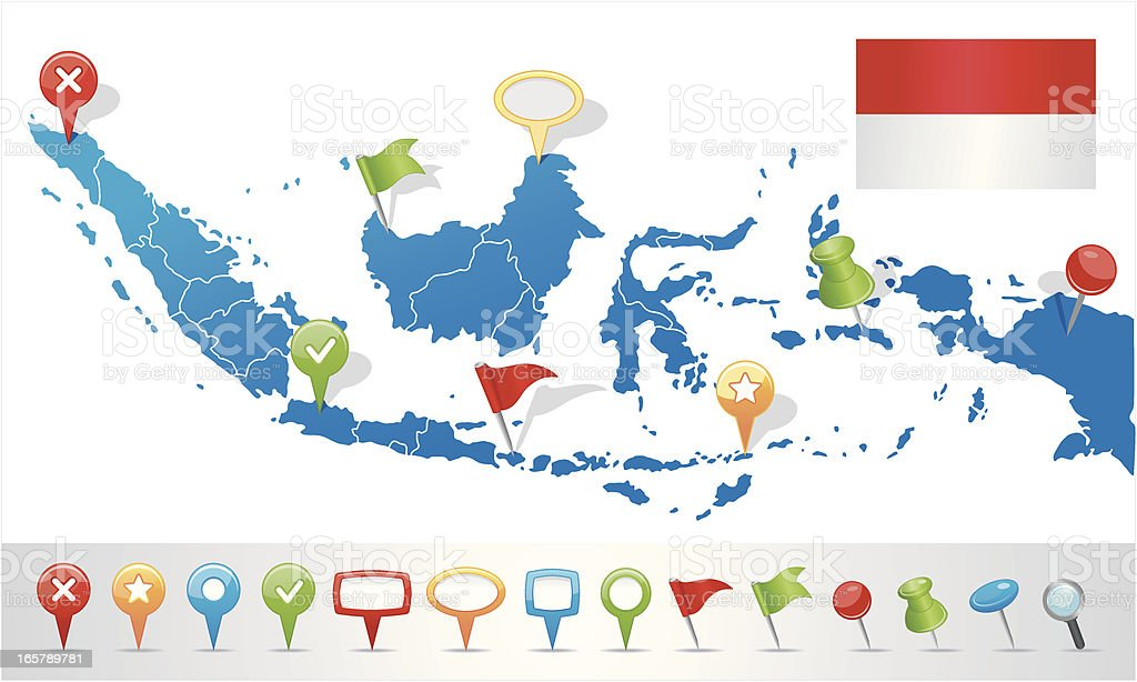 Indonesia map with navigation icons stock vector art more images indonesia map with navigation icons royalty free indonesia map with navigation icons stock vector art gumiabroncs Images
