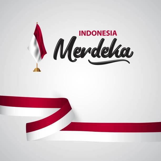 stockillustraties, clipart, cartoons en iconen met indonesië merdeka vlag vector sjabloonontwerp illustratie - indonesische vlag