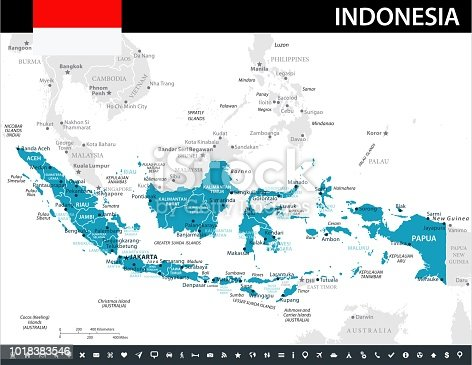 Map of Indonesia - Vector illustration