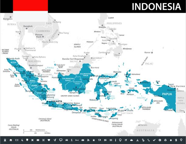 10 - Indonesia - Murena 10 Map of Indonesia - Vector illustration indonesia stock illustrations