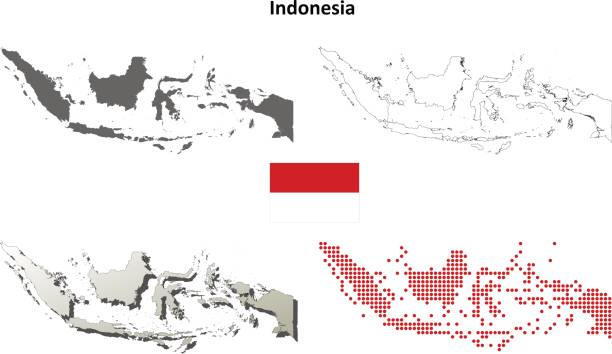 Indonesia outline map set Indonesia blank detailed vector outline map set indonesia stock illustrations