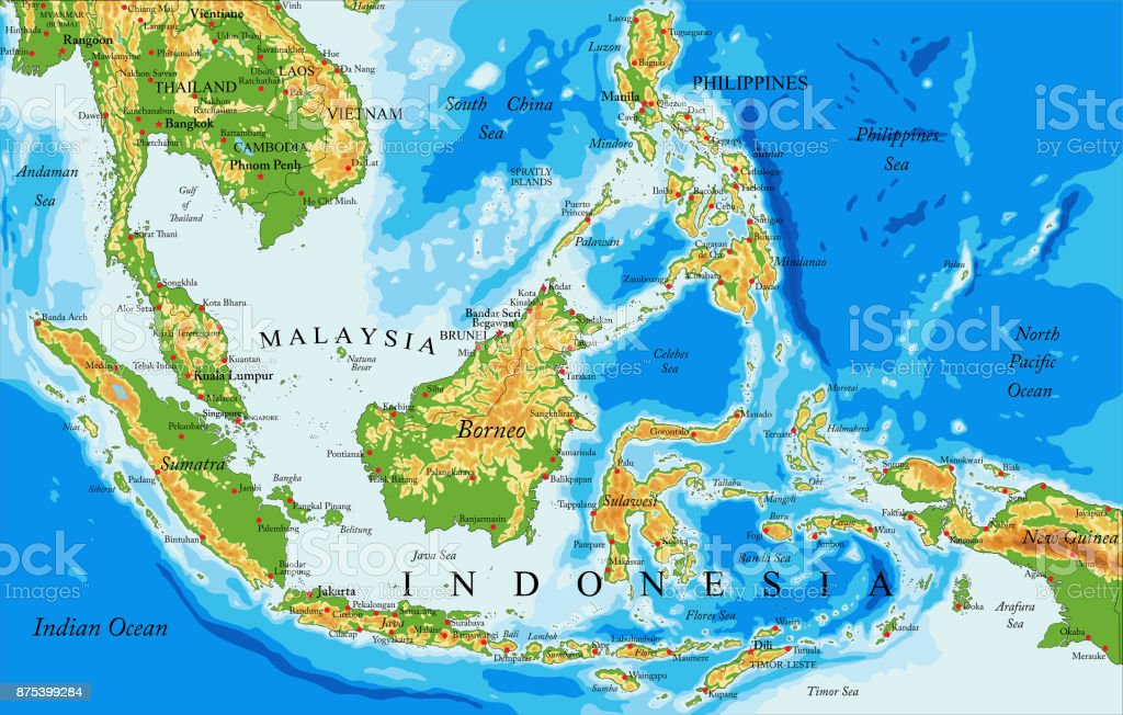 Picture of: Indonesia Physical Map Stock Illustration Download Image Now Istock