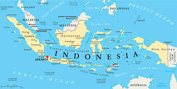 Indonesia Political Map Indonesia political map with capital Jakarta, national borders and important cities. English labeling and scaling. Illustration. indonesia stock illustrations
