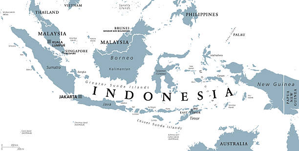 Indonesia political map Indonesia political map with capital Jakarta, islands, neighbor countries Malaysia, Singapore, Brunei, East Timor and capitals. Gray illustration with English labeling on white background. Vector. indonesia stock illustrations