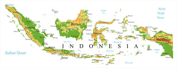 Indonesia relief map Highly detailed physical map of Indonesia in vector  indonesia stock illustrations