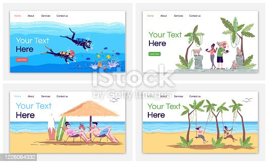 istock Indonesia tourism landing page vector template. Diving. Monkey forest. Bali beach. Swing resort. Website interface idea with flat illustrations. Homepage layout. Web banner, webpage cartoon concept 1226064332