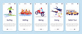 Indonesia tourism onboarding mobile app screen vector template. Active pastime. Extreme activities. Walkthrough website steps with flat characters. UX, UI, GUI smartphone cartoon interface concept