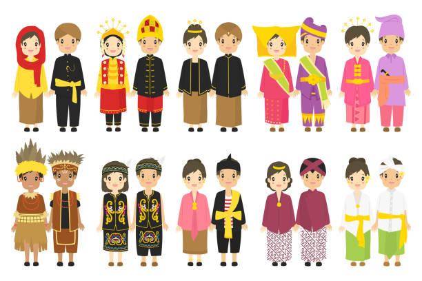 인도네시아 전통 드레스 벡터 컬렉션 - 자카르타 stock illustrations