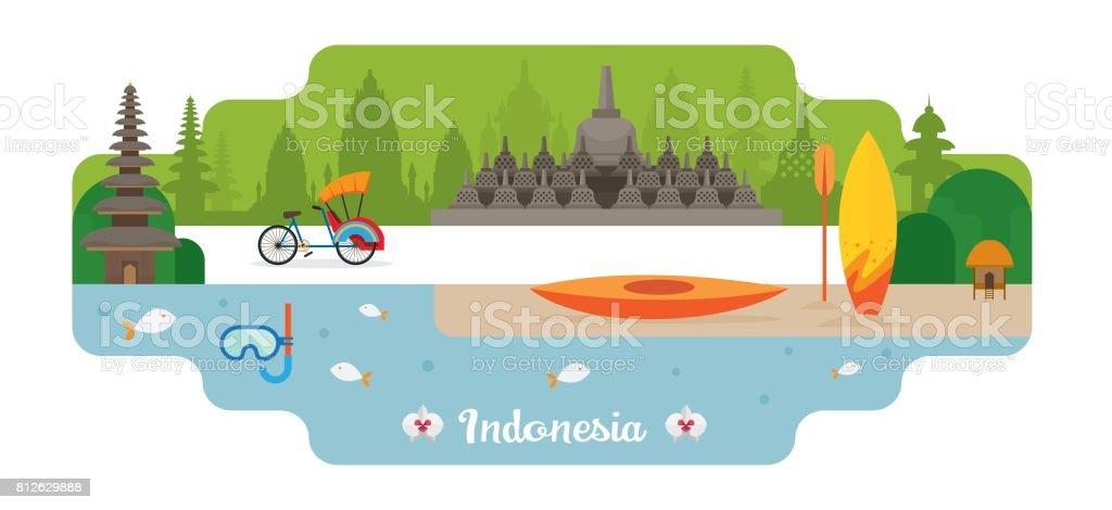 Indonesia Travel and Attraction Landmarks vector art illustration