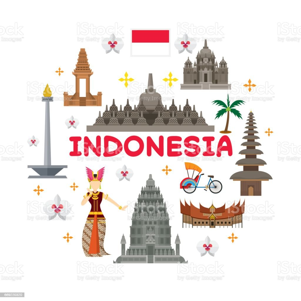 Indonesia Travel Attraction Label vector art illustration