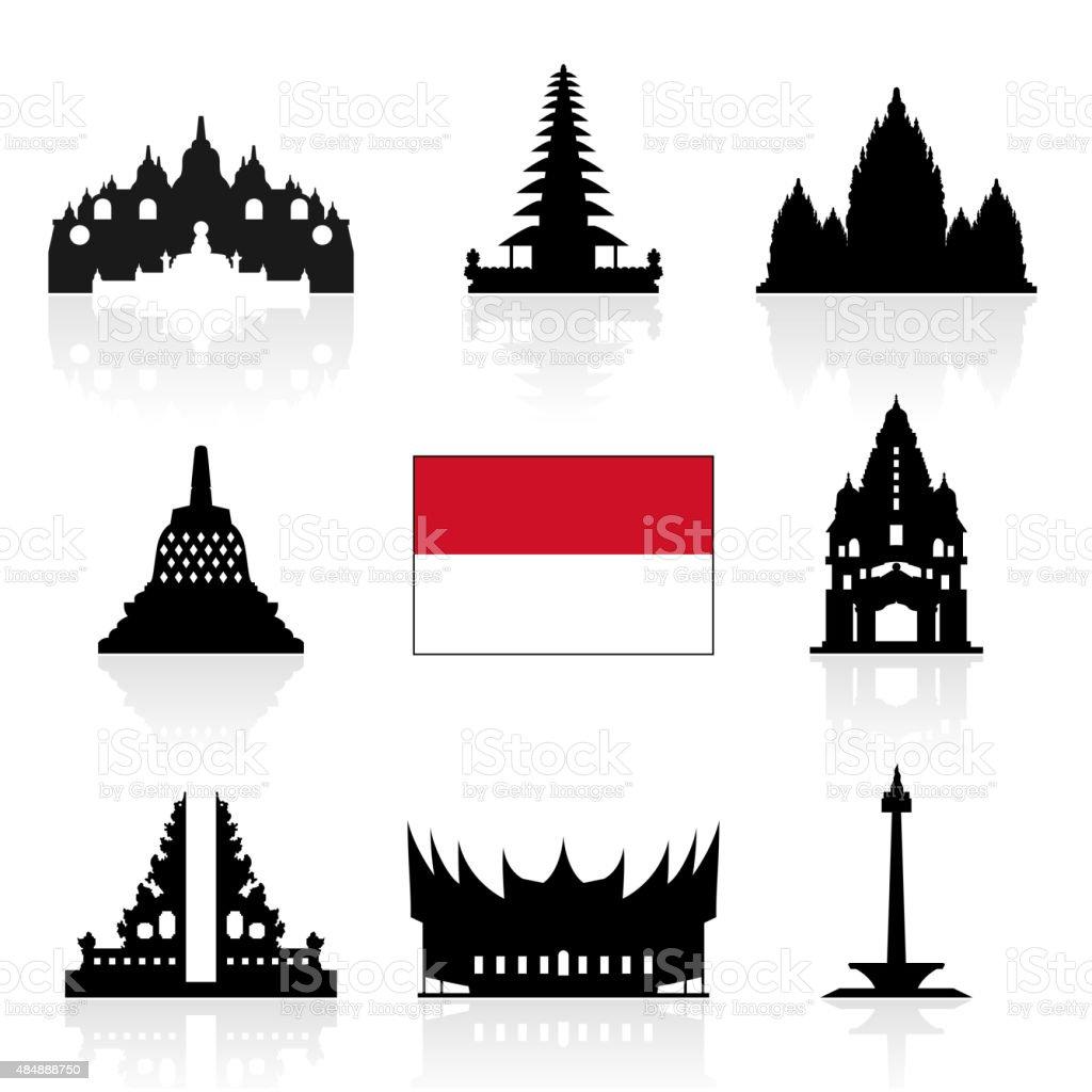 Indonesia Travel Icons. vector art illustration