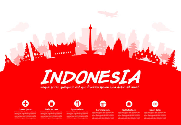 Indonesia Travel Landmarks. Indonesia Travel Landmarks. Vector and Illustration indonesia stock illustrations