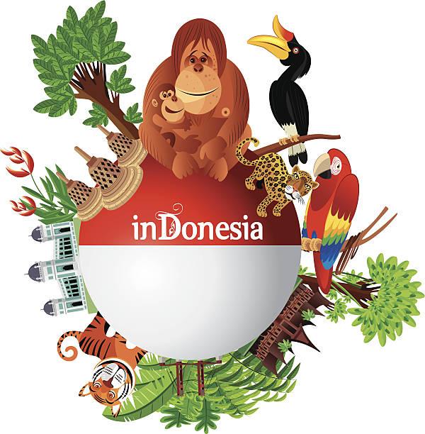 Indonesia Travel Vector Indonesia Travel lagbok stock illustrations