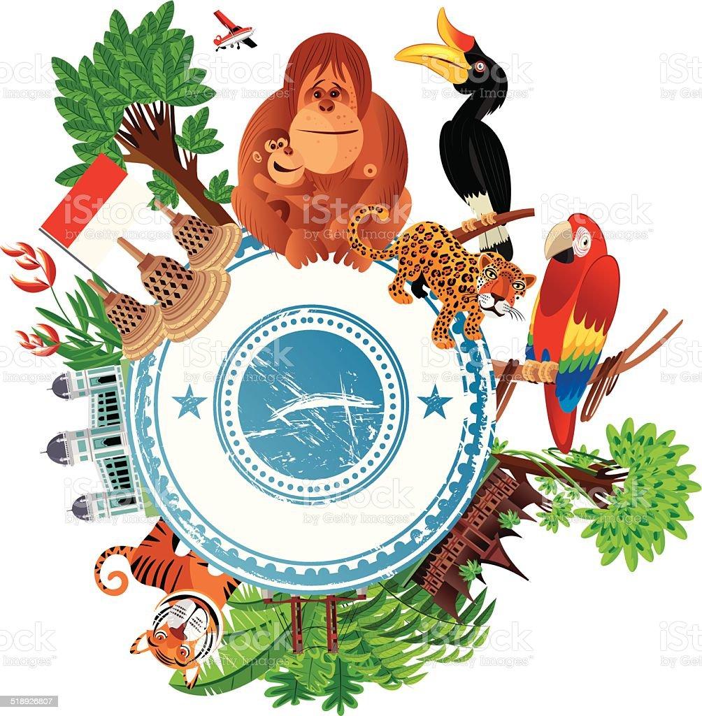 Indonesia Travel vector art illustration