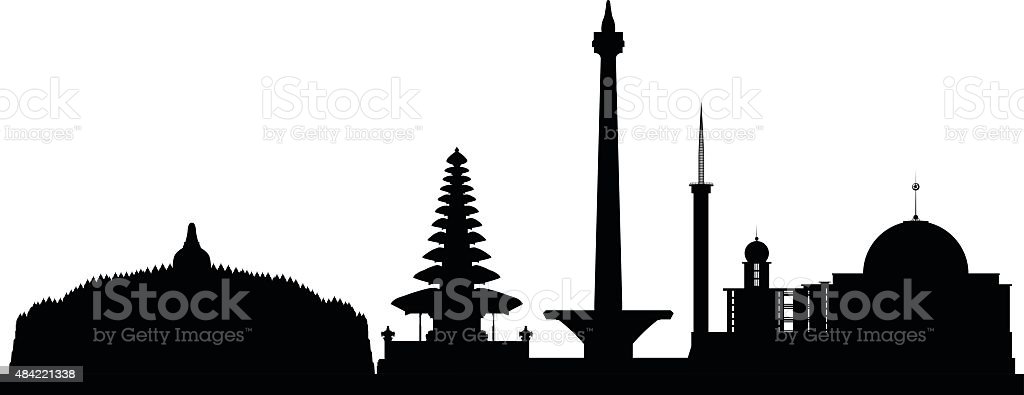 Indonesia (Complete and Moveable Buildings) vector art illustration