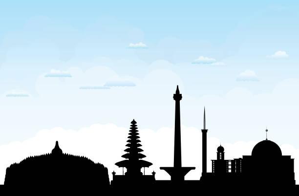 인도네시아 (모든 건물은 완전 하 고 이동) - 자카르타 stock illustrations