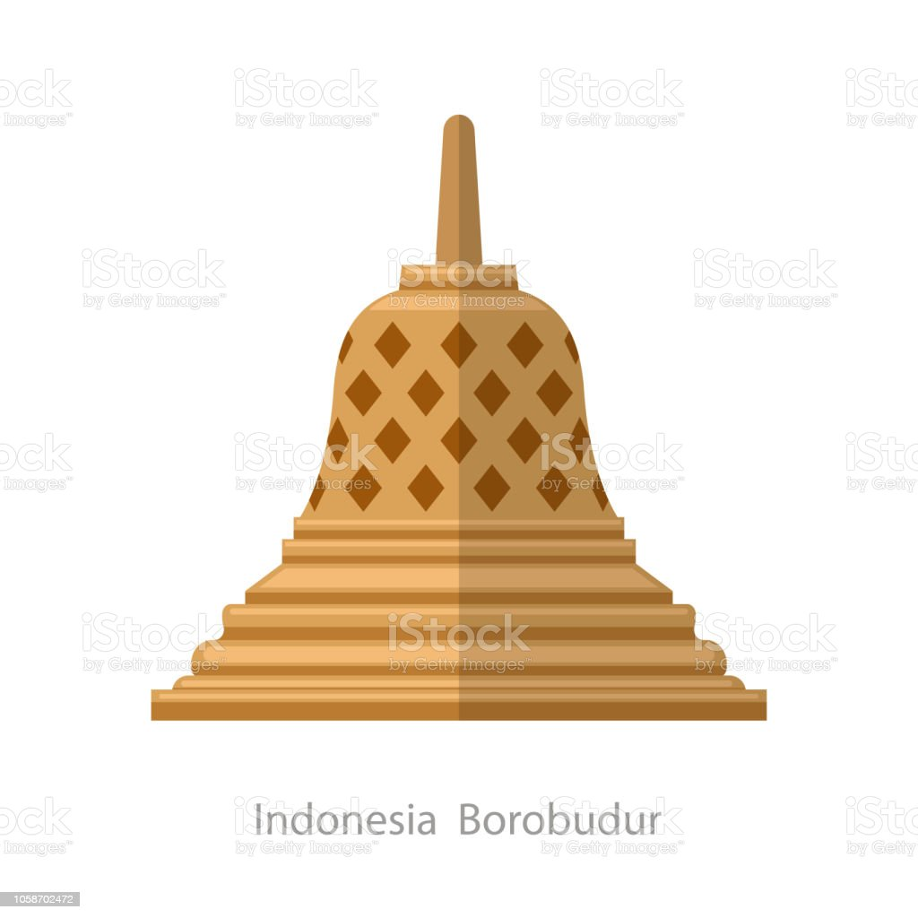Indonesian Borobudur ancient temple. Cartoon style icon vector art illustration
