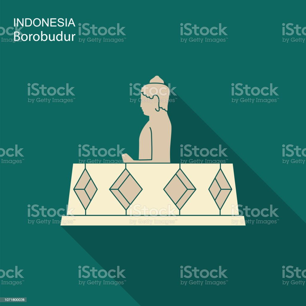 Indonesian Borobudur ancient temple. Flat icon with long shadow vector art illustration
