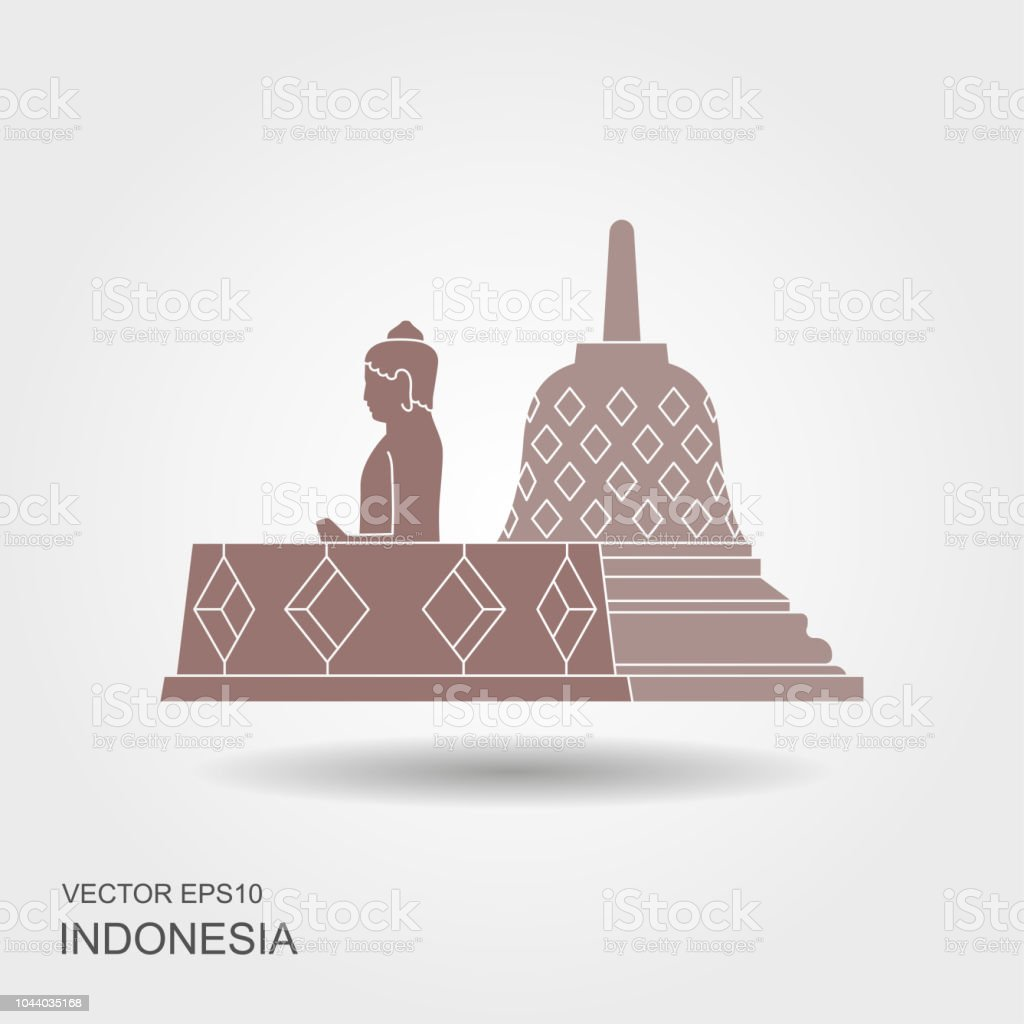Indonesian Borobudur ancient temple. Flat icon with shadow vector art illustration