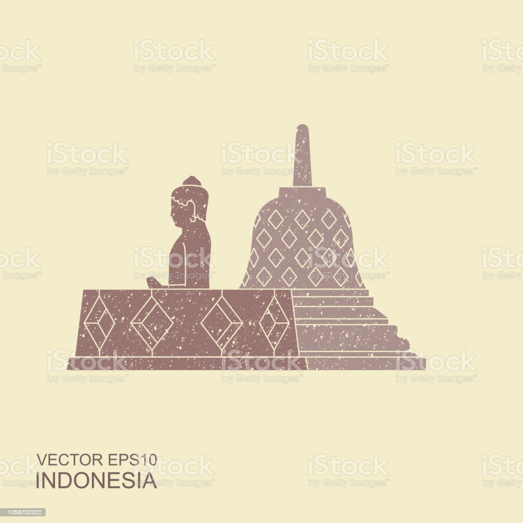 Indonesian Borobudur ancient temple. Flat icon with with scuffed effect vector art illustration
