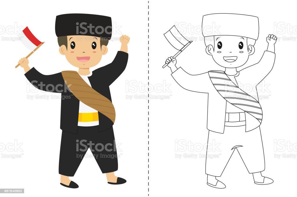 Endonezya çocuk Betawi Jakarta Geleneksel Kıyafet Giyiyor Anahat