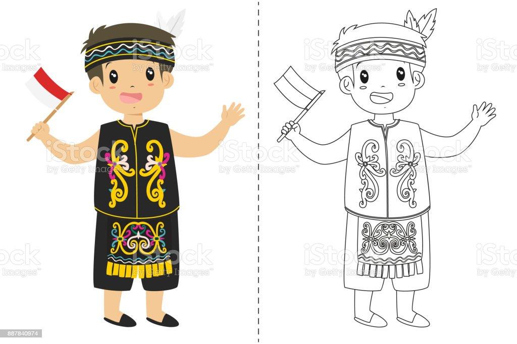 Endonezya çocuk Dayak Geleneksel Kıyafet Giyiyor Anahat Karikatür