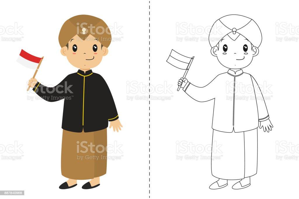 Endonezya çocuk Cava Geleneksel Kıyafet Giyiyor Anahat Karikatür