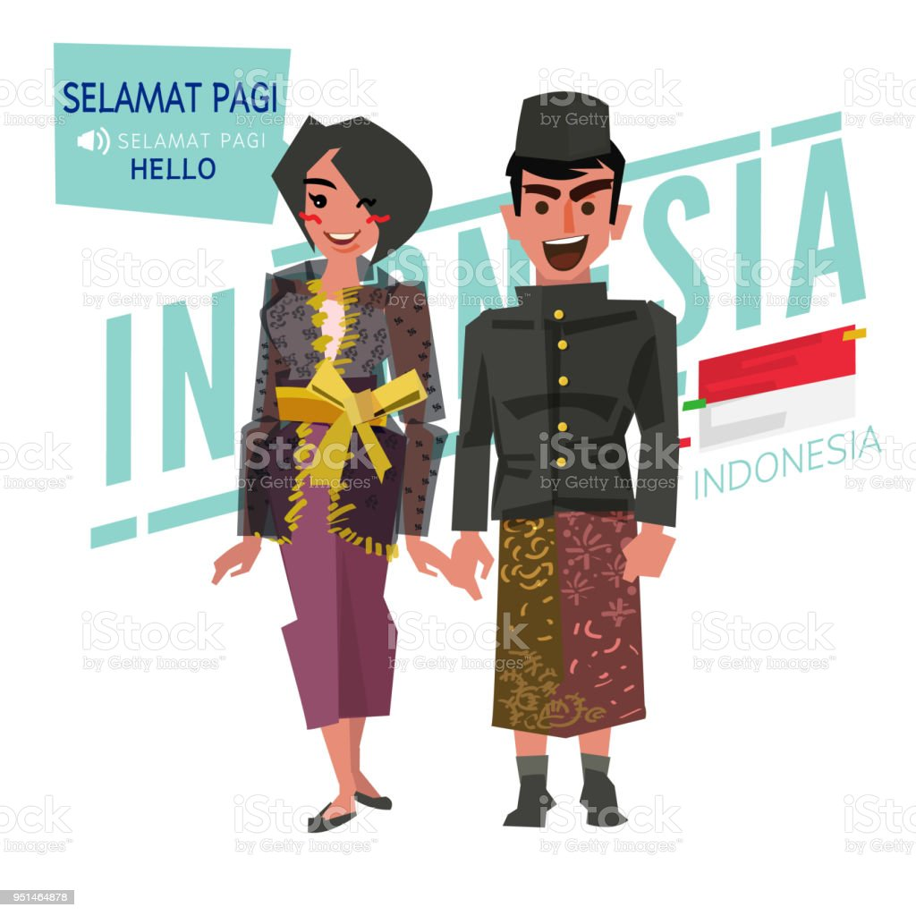 Indonesian couple in traditional costume. Say 'Hello' in indonesian language - vector vector art illustration