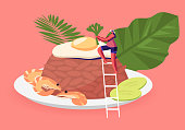 Indonesian Cuisine. Tiny Woman near Traditional Malaysian Meal Nasi Goreng Fried Rice with Shrimps and Egg Garnished with Fresh Cucumber Slices on Plate, Asian Food Cartoon Flat Vector Illustration