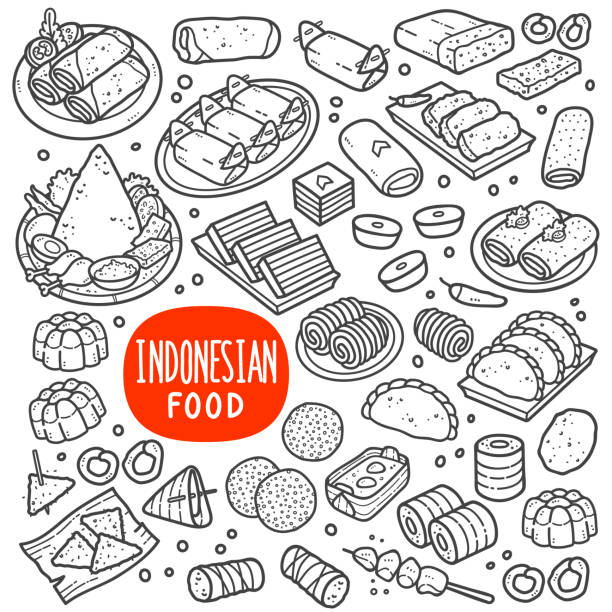 Indonesian Foods and Snack Black and White Illustration. Indonesian foods and snack doodle drawing collection. Food and snack such as lumpia, lemper, onde-onde, tempe, jenang, lupis, gethuk, pastel, risole, jajan pasar etc. Hand drawn vector doodle illustrations in black isolated over white background. temps stock illustrations