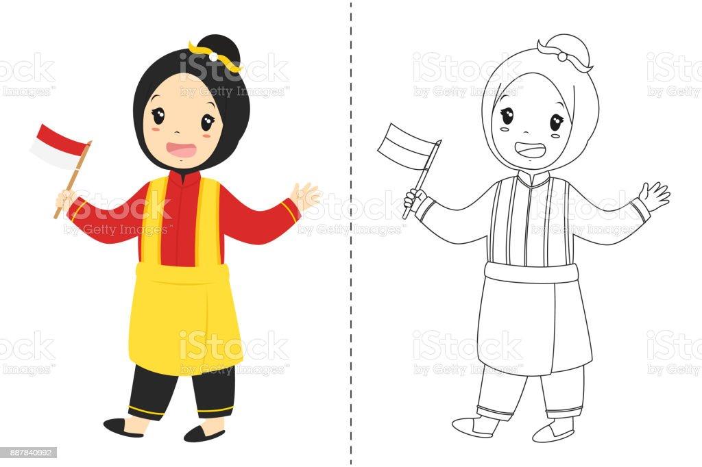 Endonezya Kız Aceh Geleneksel Kıyafet Giyiyor Anahat Karikatür