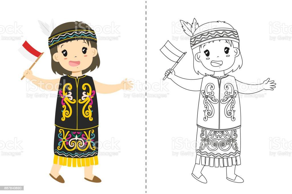 Endonezya Kız Dayak Geleneksel Kıyafet Giyiyor Anahat Karikatür