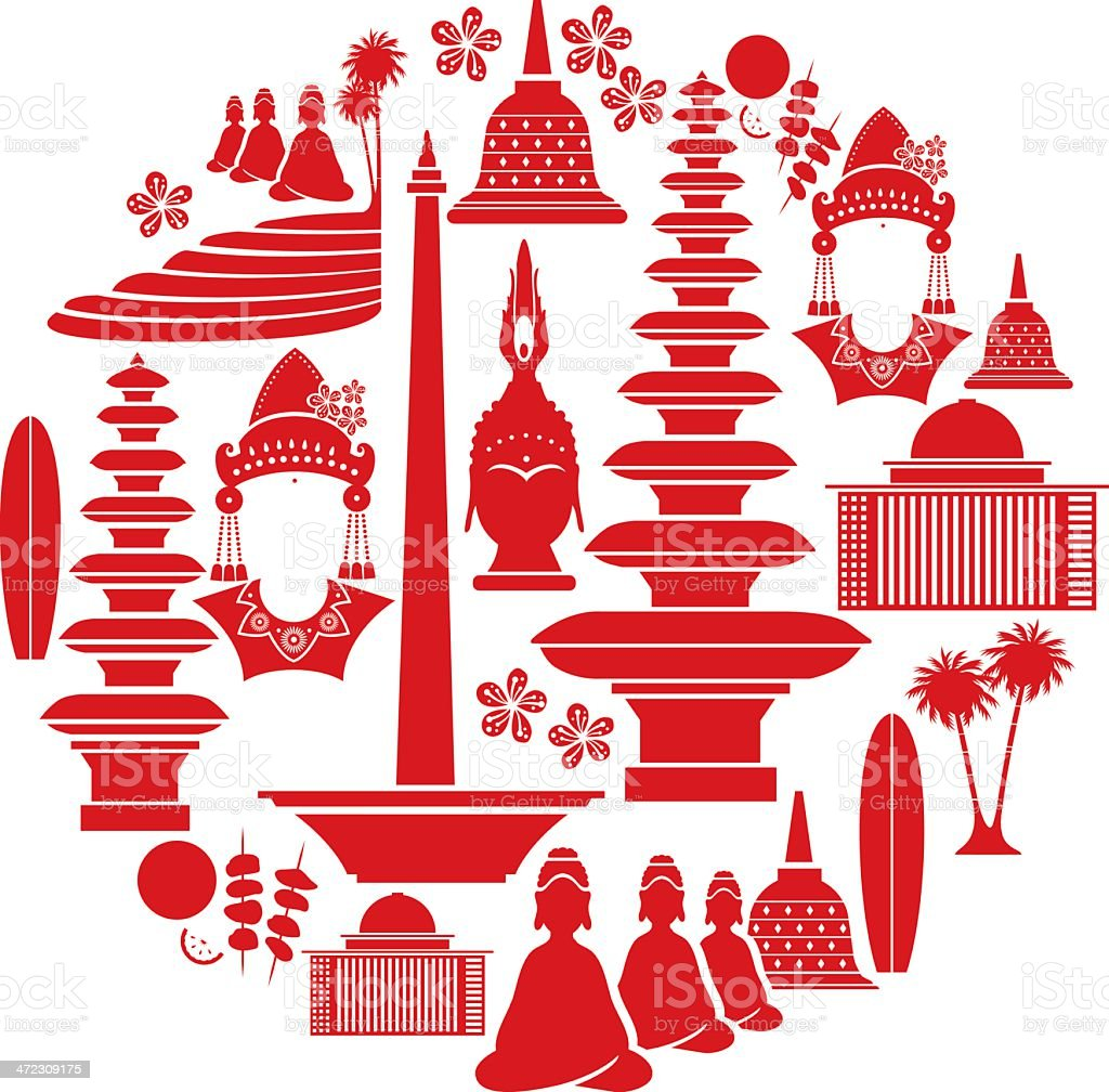 Indonesian Icon Set vector art illustration