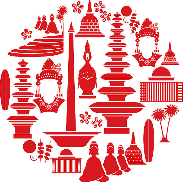 Indonesian Icon Set A set of Indonesian related icons. Click below for more travel images. indonesia stock illustrations