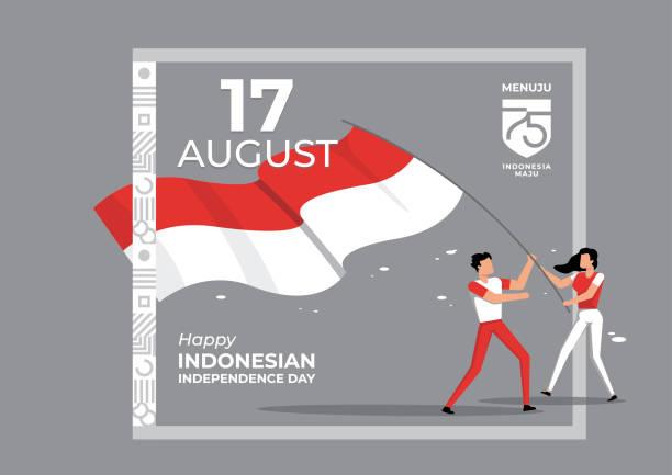 stockillustraties, clipart, cartoons en iconen met indonesische onafhankelijkheidsdag - indonesische vlag