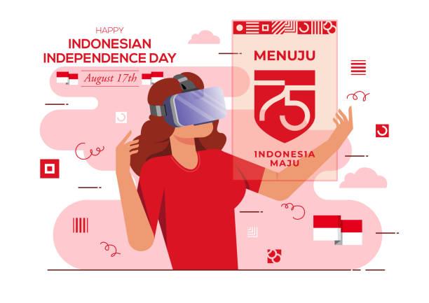stockillustraties, clipart, cartoons en iconen met indonesische independence day virtual realty concept - indonesische vlag