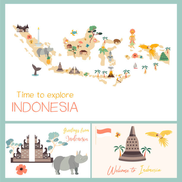 Indonesian map with animals and landmarks Indonesian map with animals and landmarks. indonesia stock illustrations