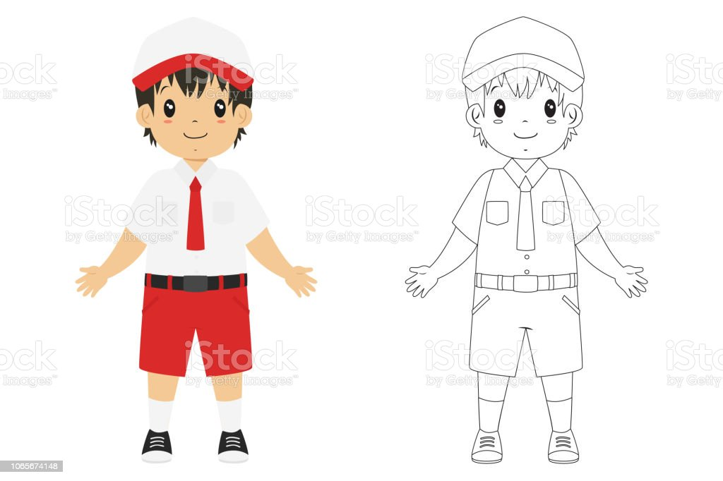 Indonesian Student Coloring Page Vector Template Stock Illustration -  Download Image Now - IStock