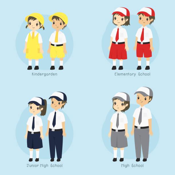 stockillustraties, clipart, cartoons en iconen met indonesische student school uniform vector set - schooluniform