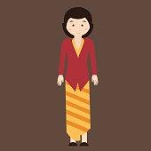 indonesian traditional clothes woman dress kebaya batik vector cartoon java